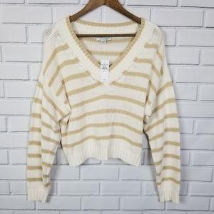NWT American Eagle Long Sleeve Stripe Crop Sweater